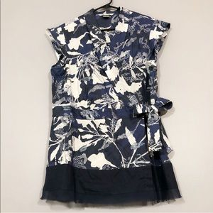 Nygard   Floral Embroidery Draw String Tied Blouse